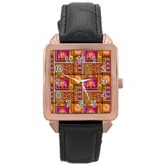Traditional Africa Border Wallpaper Pattern Colored 3 Rose Gold Leather Watch
