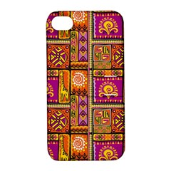 Traditional Africa Border Wallpaper Pattern Colored 3 Apple Iphone 4/4s Hardshell Case With Stand