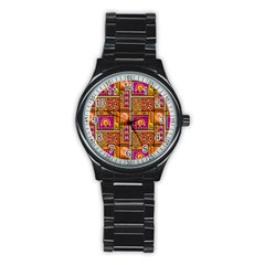 Traditional Africa Border Wallpaper Pattern Colored 3 Stainless Steel Round Watch