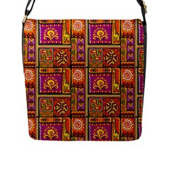 Traditional Africa Border Wallpaper Pattern Colored 3 Flap Messenger Bag (l)