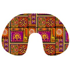 Traditional Africa Border Wallpaper Pattern Colored 3 Travel Neck Pillows