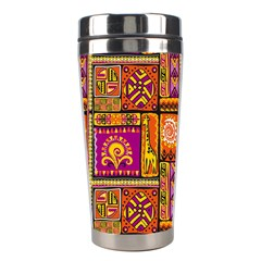 Traditional Africa Border Wallpaper Pattern Colored 3 Stainless Steel Travel Tumblers