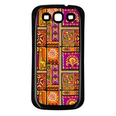 Traditional Africa Border Wallpaper Pattern Colored 3 Samsung Galaxy S3 Back Case (black)