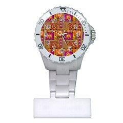 Traditional Africa Border Wallpaper Pattern Colored 3 Plastic Nurses Watch