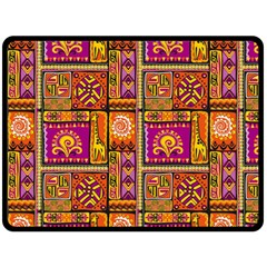 Traditional Africa Border Wallpaper Pattern Colored 3 Double Sided Fleece Blanket (large)