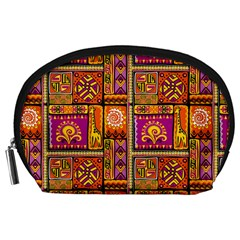 Traditional Africa Border Wallpaper Pattern Colored 3 Accessory Pouches (large)