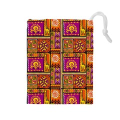 Traditional Africa Border Wallpaper Pattern Colored 3 Drawstring Pouches (large)