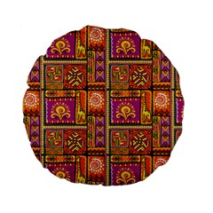 Traditional Africa Border Wallpaper Pattern Colored 3 Standard 15  Premium Flano Round Cushions