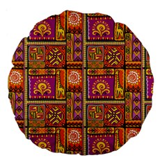 Traditional Africa Border Wallpaper Pattern Colored 3 Large 18  Premium Flano Round Cushions