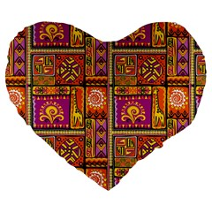 Traditional Africa Border Wallpaper Pattern Colored 3 Large 19  Premium Flano Heart Shape Cushions