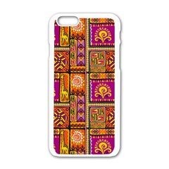 Traditional Africa Border Wallpaper Pattern Colored 3 Apple Iphone 6/6s White Enamel Case