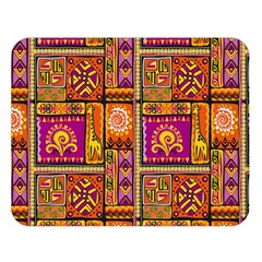 Traditional Africa Border Wallpaper Pattern Colored 3 Double Sided Flano Blanket (large)