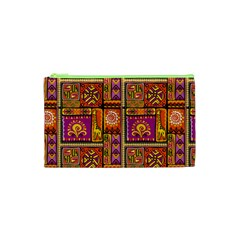 Traditional Africa Border Wallpaper Pattern Colored 3 Cosmetic Bag (xs)