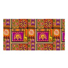 Traditional Africa Border Wallpaper Pattern Colored 3 Satin Shawl