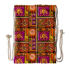 Traditional Africa Border Wallpaper Pattern Colored 3 Drawstring Bag (large)