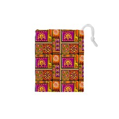 Traditional Africa Border Wallpaper Pattern Colored 3 Drawstring Pouches (xs)
