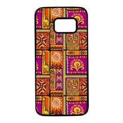 Traditional Africa Border Wallpaper Pattern Colored 3 Samsung Galaxy S7 Black Seamless Case
