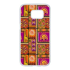 Traditional Africa Border Wallpaper Pattern Colored 3 Samsung Galaxy S7 Edge White Seamless Case