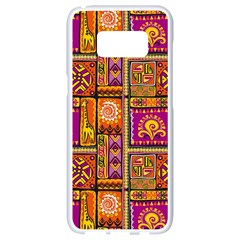 Traditional Africa Border Wallpaper Pattern Colored 3 Samsung Galaxy S8 White Seamless Case