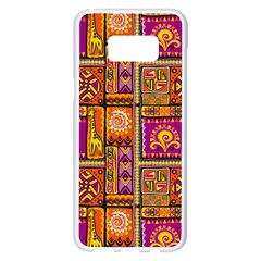 Traditional Africa Border Wallpaper Pattern Colored 3 Samsung Galaxy S8 Plus White Seamless Case