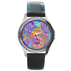 Pop Art Paisley Flowers Ornaments Multicolored 3 Round Metal Watch