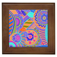 Pop Art Paisley Flowers Ornaments Multicolored 3 Framed Tiles