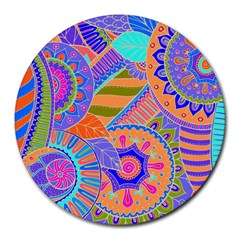 Pop Art Paisley Flowers Ornaments Multicolored 3 Round Mousepads