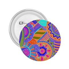 Pop Art Paisley Flowers Ornaments Multicolored 3 2 25  Buttons