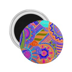 Pop Art Paisley Flowers Ornaments Multicolored 3 2 25  Magnets