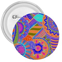 Pop Art Paisley Flowers Ornaments Multicolored 3 3  Buttons