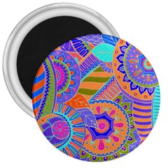 Pop Art Paisley Flowers Ornaments Multicolored 3 3  Magnets