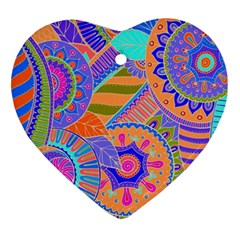 Pop Art Paisley Flowers Ornaments Multicolored 3 Ornament (heart)