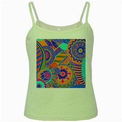 Pop Art Paisley Flowers Ornaments Multicolored 3 Green Spaghetti Tank