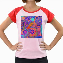 Pop Art Paisley Flowers Ornaments Multicolored 3 Women s Cap Sleeve T Shirt