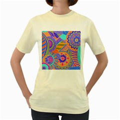 Pop Art Paisley Flowers Ornaments Multicolored 3 Women s Yellow T Shirt