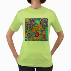 Pop Art Paisley Flowers Ornaments Multicolored 3 Women s Green T Shirt