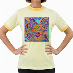 Pop Art Paisley Flowers Ornaments Multicolored 3 Women s Fitted Ringer T Shirts