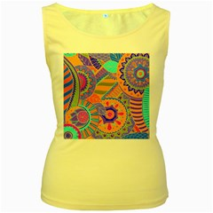 Pop Art Paisley Flowers Ornaments Multicolored 3 Women s Yellow Tank Top