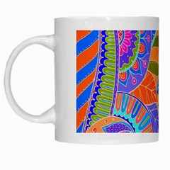 Pop Art Paisley Flowers Ornaments Multicolored 3 White Mugs