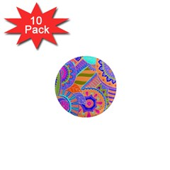 Pop Art Paisley Flowers Ornaments Multicolored 3 1  Mini Magnet (10 Pack)