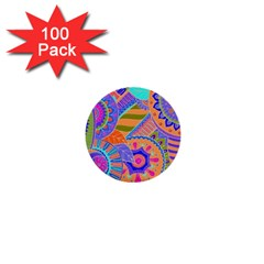 Pop Art Paisley Flowers Ornaments Multicolored 3 1  Mini Buttons (100 Pack)