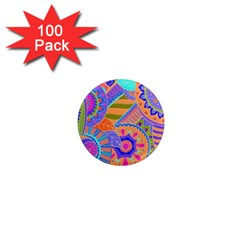 Pop Art Paisley Flowers Ornaments Multicolored 3 1  Mini Magnets (100 Pack)