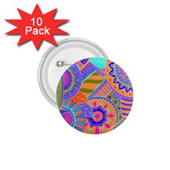 Pop Art Paisley Flowers Ornaments Multicolored 3 1 75  Buttons (10 Pack)