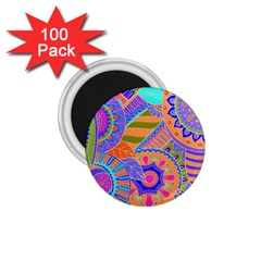 Pop Art Paisley Flowers Ornaments Multicolored 3 1 75  Magnets (100 Pack)