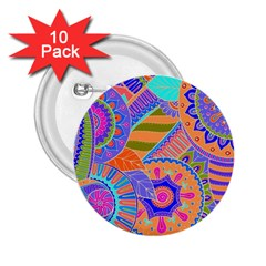 Pop Art Paisley Flowers Ornaments Multicolored 3 2 25  Buttons (10 Pack)