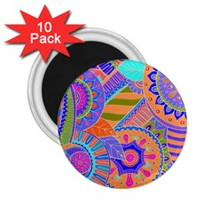 Pop Art Paisley Flowers Ornaments Multicolored 3 2 25  Magnets (10 Pack)