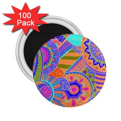 Pop Art Paisley Flowers Ornaments Multicolored 3 2 25  Magnets (100 Pack)