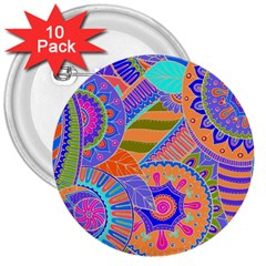 Pop Art Paisley Flowers Ornaments Multicolored 3 3  Buttons (10 Pack)