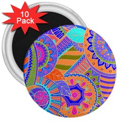 Pop Art Paisley Flowers Ornaments Multicolored 3 3  Magnets (10 Pack)