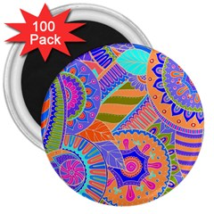 Pop Art Paisley Flowers Ornaments Multicolored 3 3  Magnets (100 Pack)